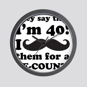 Funny Mustache 40th Birthday Wall Clock