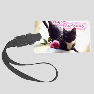 Happy Birthday Kitty Large Luggage Tag