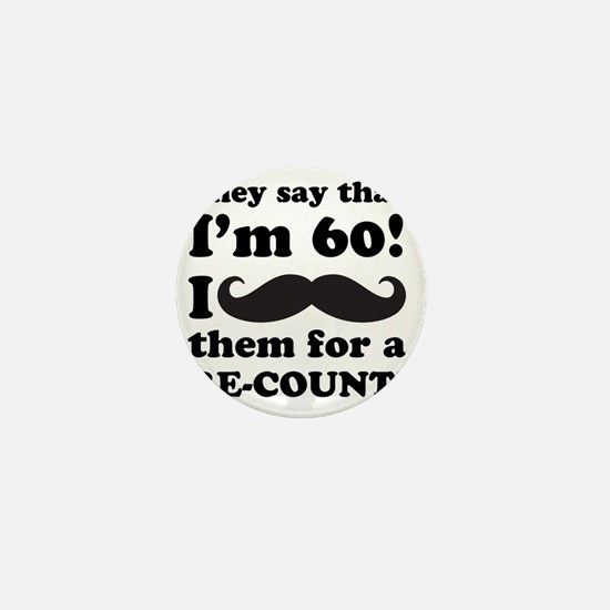 Funny Mustache 60th Birthday Mini Button
