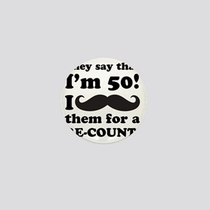 Funny Mustache 50th Birthday Mini Button
