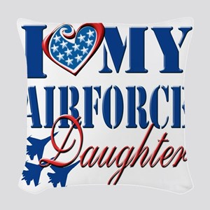 I Love My Airforce Daughter Woven Throw Pillow