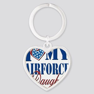 I Love My Airforce Daughter Heart Keychain