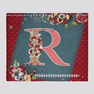 Country Charm Monogramed R Throw Blanket