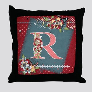 Country Charm Monogramed R Throw Pillow
