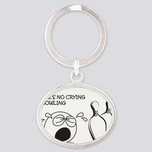 No Crying in Bowling Oval Keychain