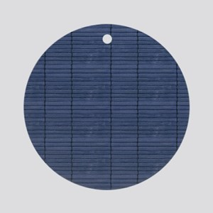 Dk Blue Wooden Slat Blinds Round Ornament