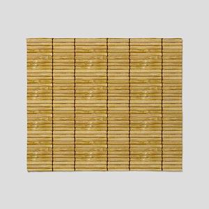 Tan Wooden Slat Blinds Throw Blanket