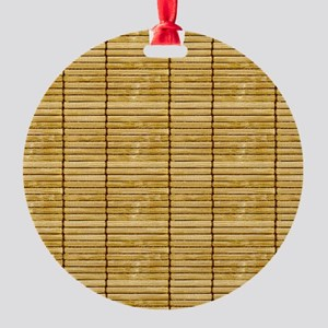 Tan Wooden Slat Blinds Round Ornament