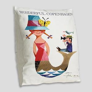 Vintage Copenhagen Mermaid Bir Burlap Throw Pillow