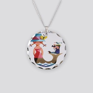 Vintage Copenhagen Mermaid B Necklace Circle Charm