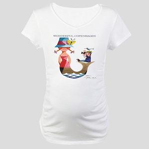 Vintage Copenhagen Mermaid Bird  Maternity T-Shirt