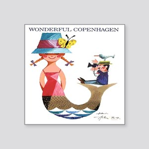 "Vintage Copenhagen Mermaid  Square Sticker 3"" x 3"""
