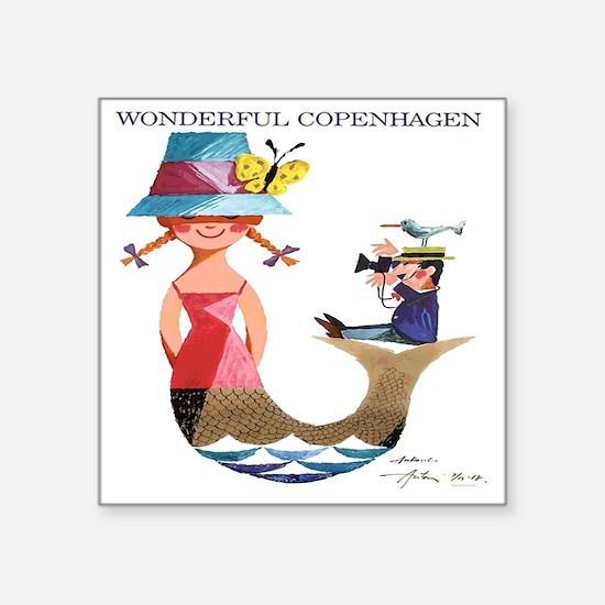 "Vintage Copenhagen Mermaid  Square Sticker 3"" x 3"""