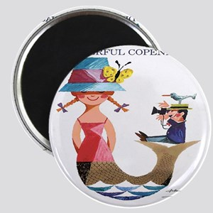Vintage Copenhagen Mermaid Bird Poster Magnet