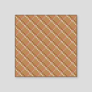 "Brown Pink White Polka Dots Square Sticker 3"" x 3"""