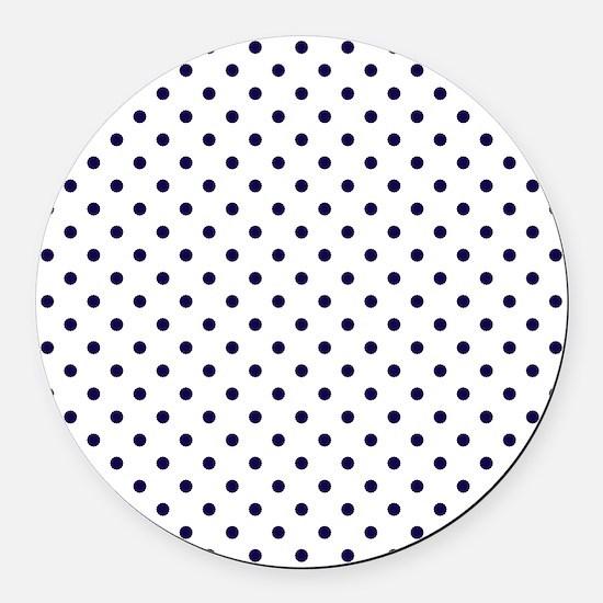 Navy Blue Polka Dot D1b Round Car Magnet