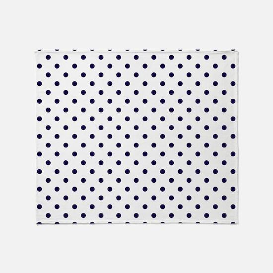 Navy Blue Polka Dot D1b Throw Blanket