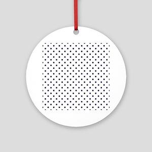 Navy Blue Polka Dot D1b Round Ornament