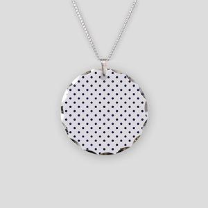 Navy Blue Polka Dot D1b Necklace Circle Charm