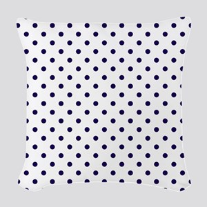 Navy Blue Polka Dot D1b Woven Throw Pillow