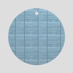 Light Blue Wooden Slat Blinds Round Ornament