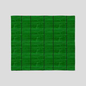 Emerald Green Wooden Slat Blinds Throw Blanket