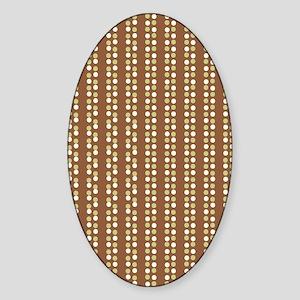 Brown Green White Polka Dots Long Sticker (Oval)