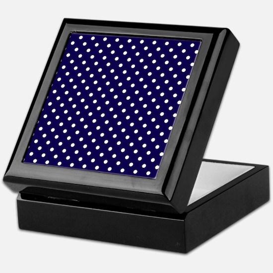 Navy Blue Polka Dot D1 Keepsake Box