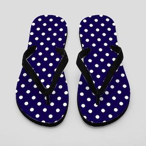 Navy Blue Polka Dot D1 Flip Flops