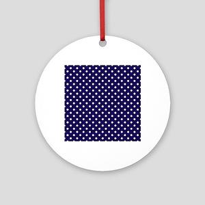 Navy Blue Polka Dot D1 Round Ornament
