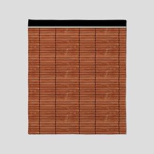Rust Brown Wooden Slat Blinds Throw Blanket