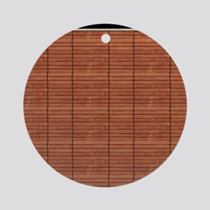 Rust Brown Wooden Slat Blinds Round Ornament