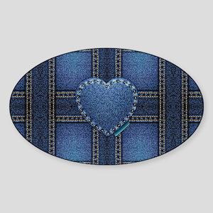 denim heart weave Sticker (Oval)