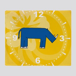 Rhino Clock Throw Blanket