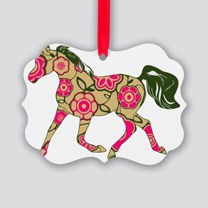 Floral Horse Picture Ornament