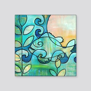 "Sunny Fish Underwater Blue  Square Sticker 3"" x 3"""