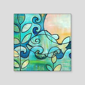 "Sunny Fish Underwater Blue  Square Sticker 3"" x 3"""