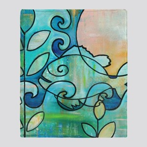Sunny Fish Underwater Blue by Melani Throw Blanket