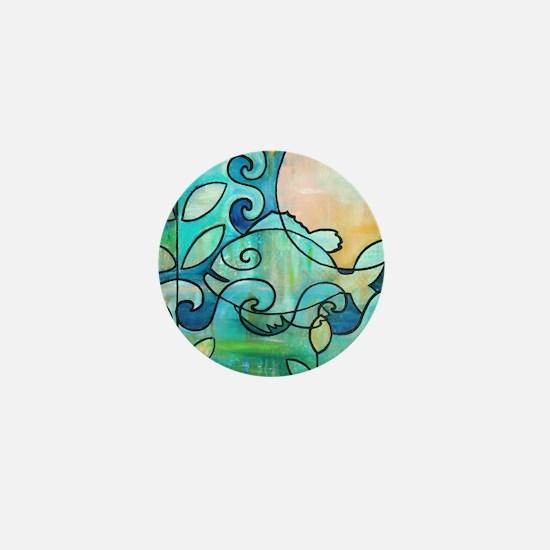Sunny Fish Underwater Blue by Melanie  Mini Button
