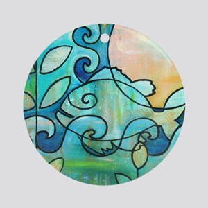 Sunny Fish Underwater Blue by Melan Round Ornament