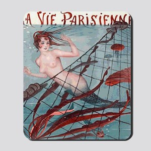 Vintage Paris Mermaid Mousepad