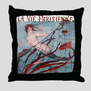 Vintage Paris Mermaid Throw Pillow