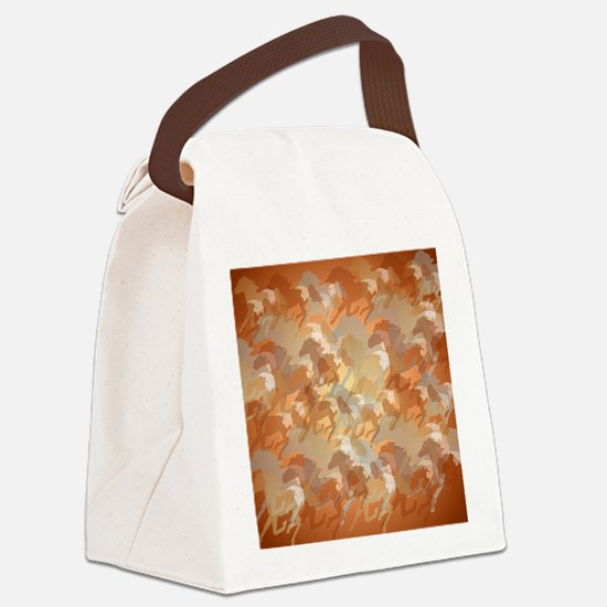 Misty Running Horses Canvas Lunch Bag