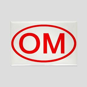 OM Oval (Red) Rectangle Magnet