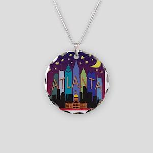 Atlanta Skyline mega color Necklace Circle Charm