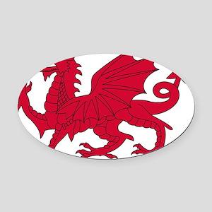 Welsh Red Dragon Oval Car Magnet