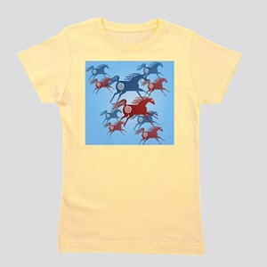Mens All Over Two Ancient Horses Girl's Tee