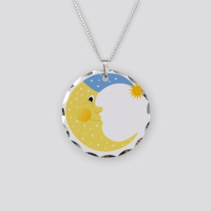 Moon Necklace Circle Charm