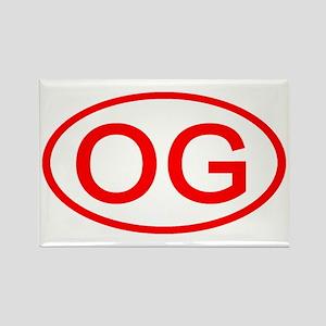 OG Oval (Red) Rectangle Magnet