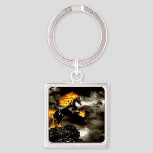 Burning Horse Square Keychain